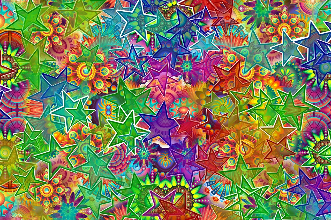 Picture Star decoration Multicolor Abstract art little stars Abstraction