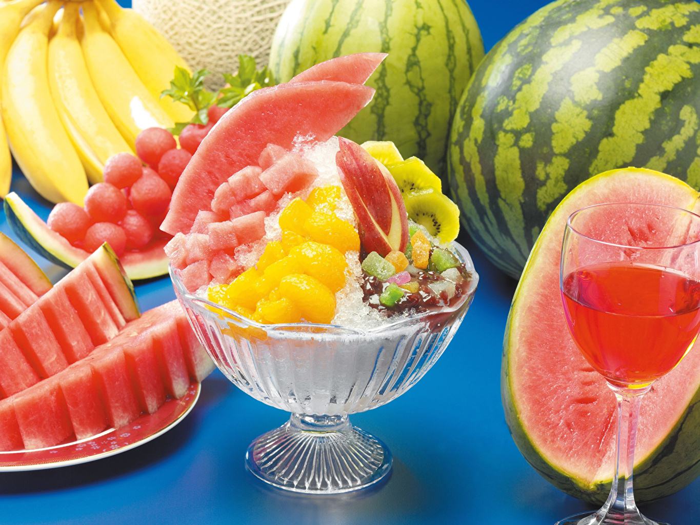 Pictures Juice Dessert Watermelons Food Stemware