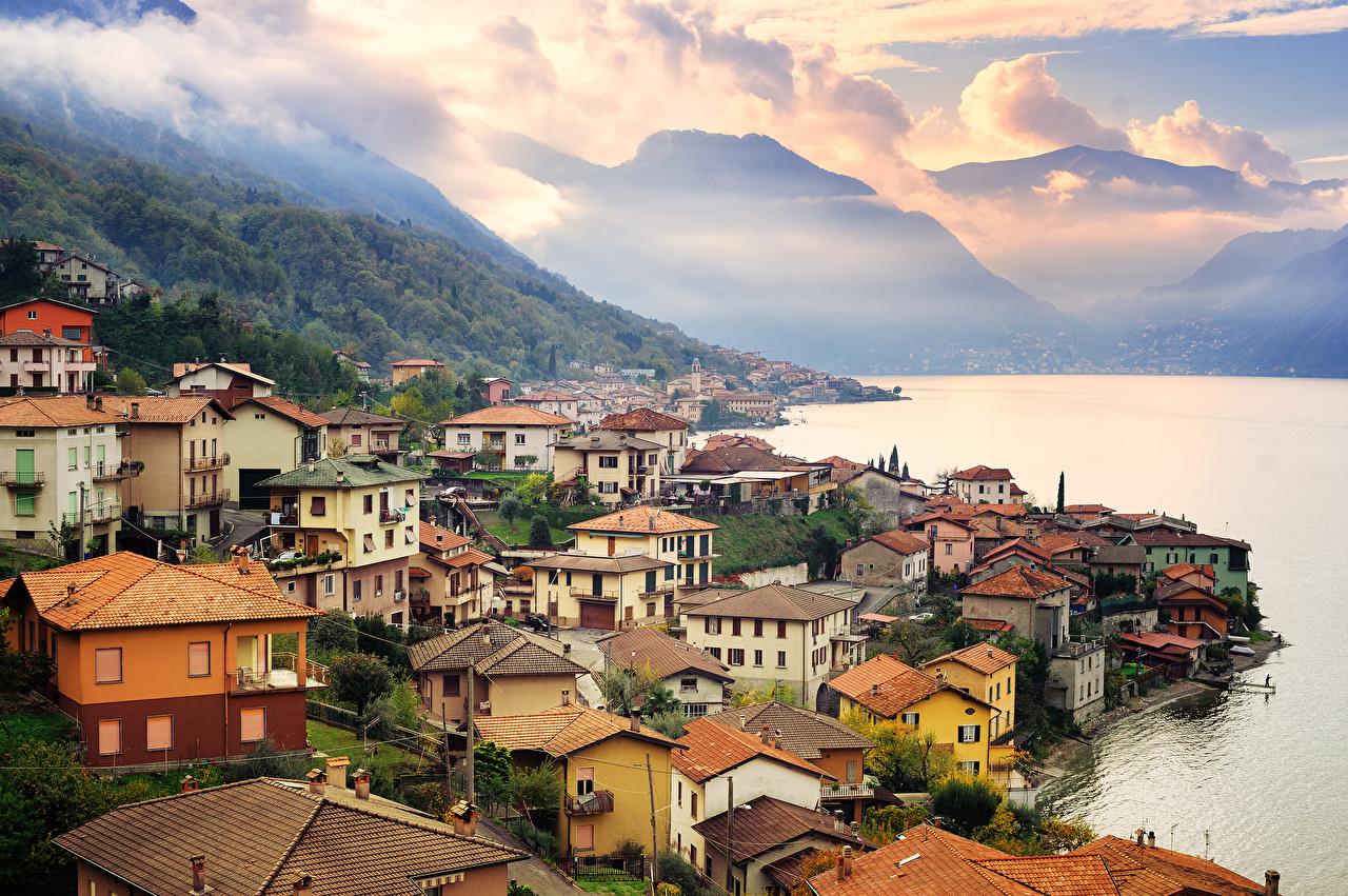 Images Italy Como Lake Milan Mountains Coast Houses Cities mountain Building