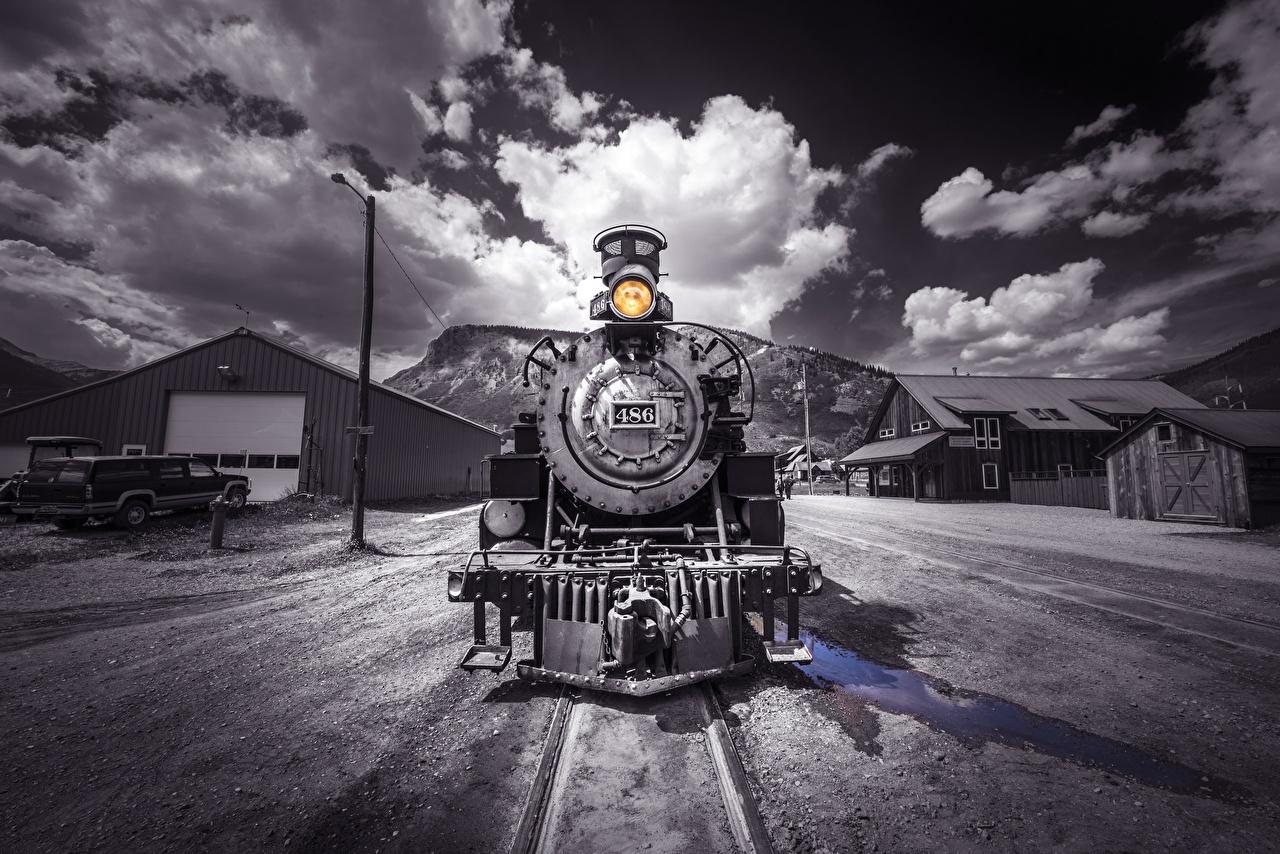 Tapeta na pulpit Retro Pociąg Czarno białe Widok z przodu vintage zabytkowe pociągi czarny biały