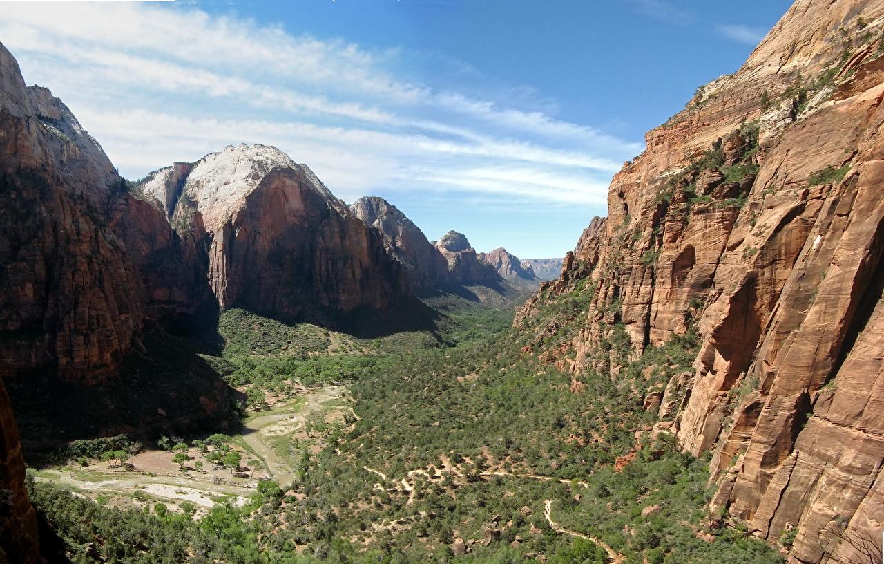 Wallpaper Zion National Park Usa Canyon Cliff Nature Park