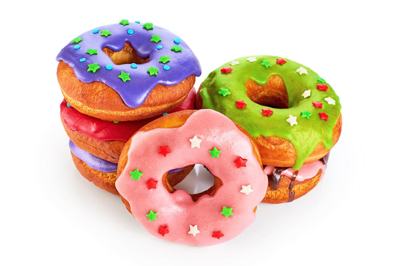 Fotos Donut Zuckerguss das Essen Backware Weißer hintergrund Lebensmittel