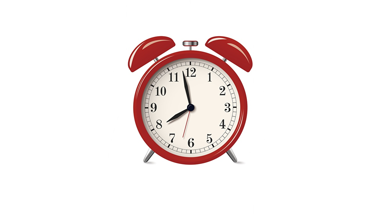 Picture Red Alarm clock Clock face White background