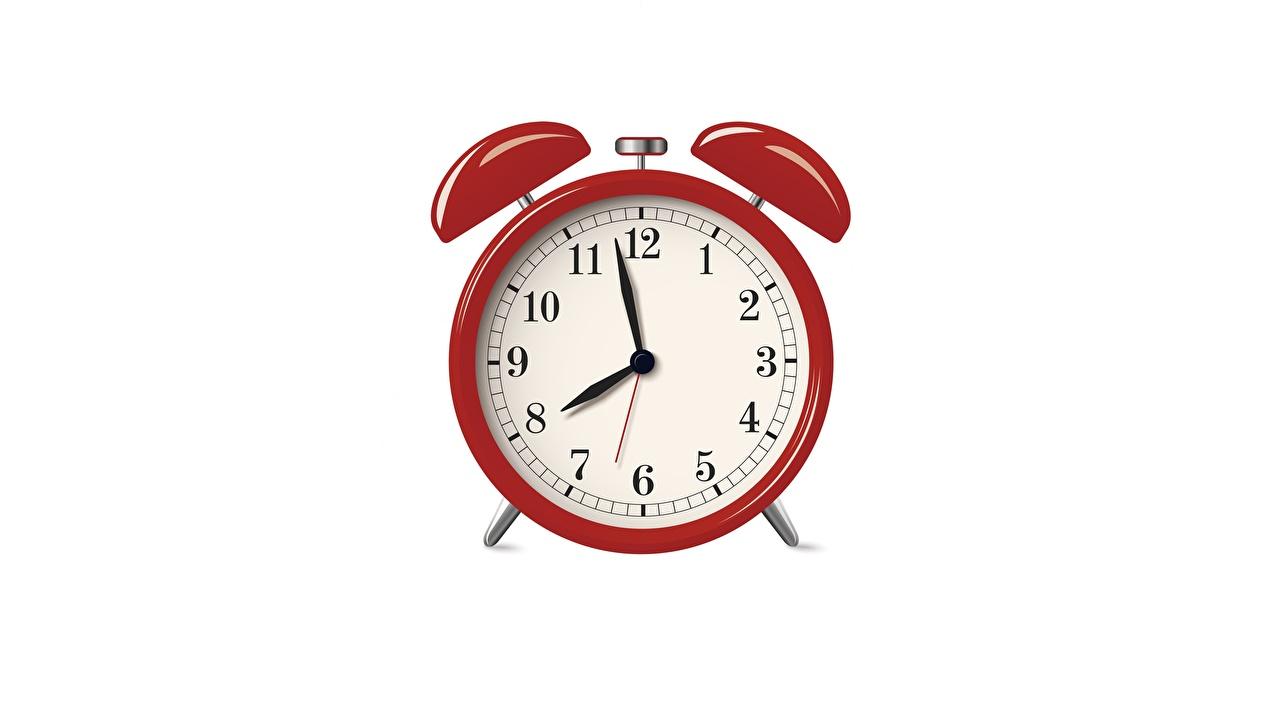 Tapety Czerwony Budzik Tarcza zegara na białym tle Białe tło