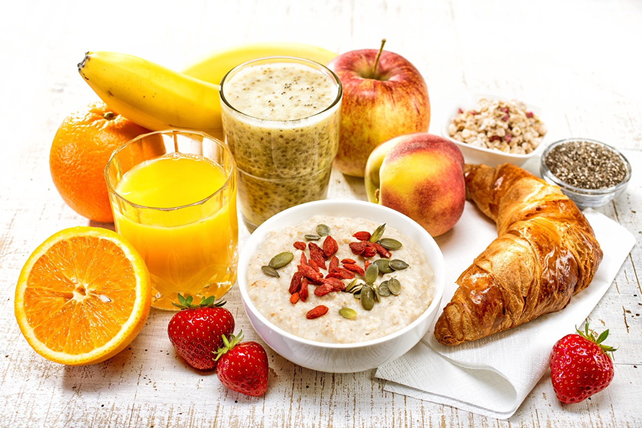 Images Healthy eating Juice Oatmeal Croissant Breakfast Orange fruit Strawberry Highball glass Food