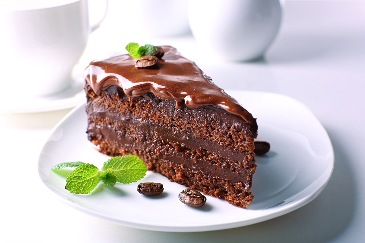 Images Chocolate Cakes Coffee Grain Piece Food Plate Little cakes Torte pieces