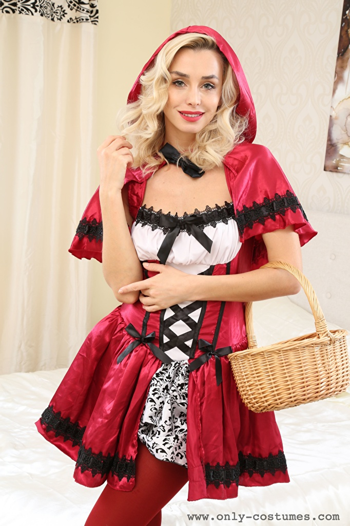 Desktop Wallpapers Dominika Jandlova Coxy Blonde girl Red Riding Hood Smile Pose young woman Wicker basket Hands Glance  for Mobile phone posing Girls female Staring