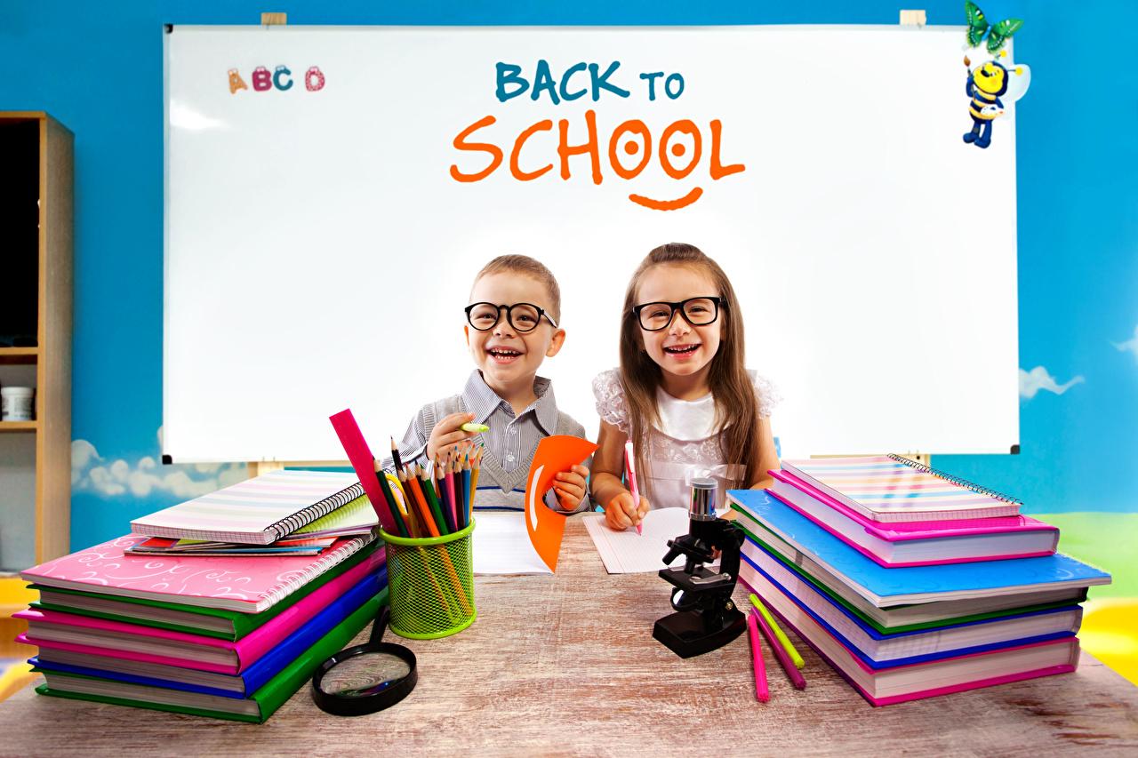 Pictures child English Little girls School Notepad Glasses Book pencil Boys Smile Children eyeglasses books Pencils