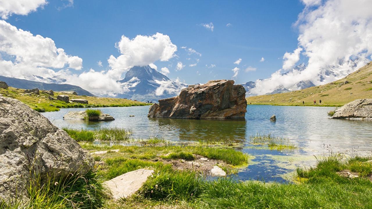 Fotos Schweiz Lake Stellisee Natur Sommer See Landschaftsfotografie Gras Steine