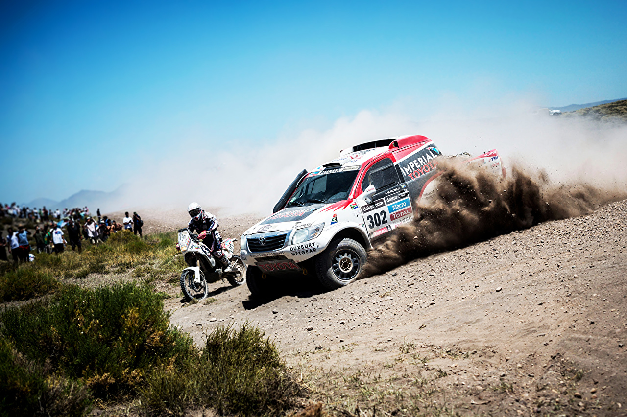 ,丰田汽车,天空,改装车,Toyota Dakar,摩托車騎士,拉力赛,汽车,摩托車,