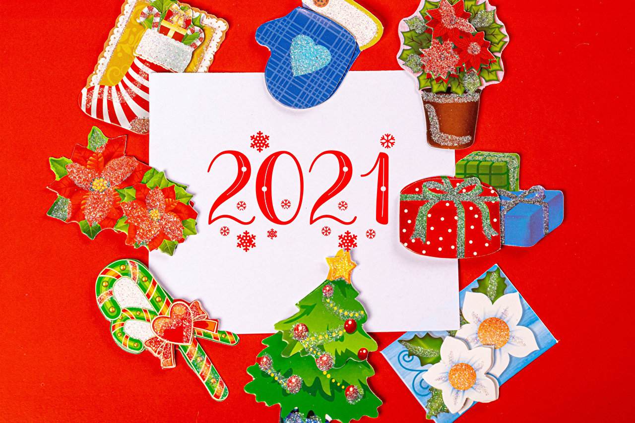 Image 2021 New year Mittens Socks Lollipop New Year tree present Red background Christmas Christmas tree Gifts