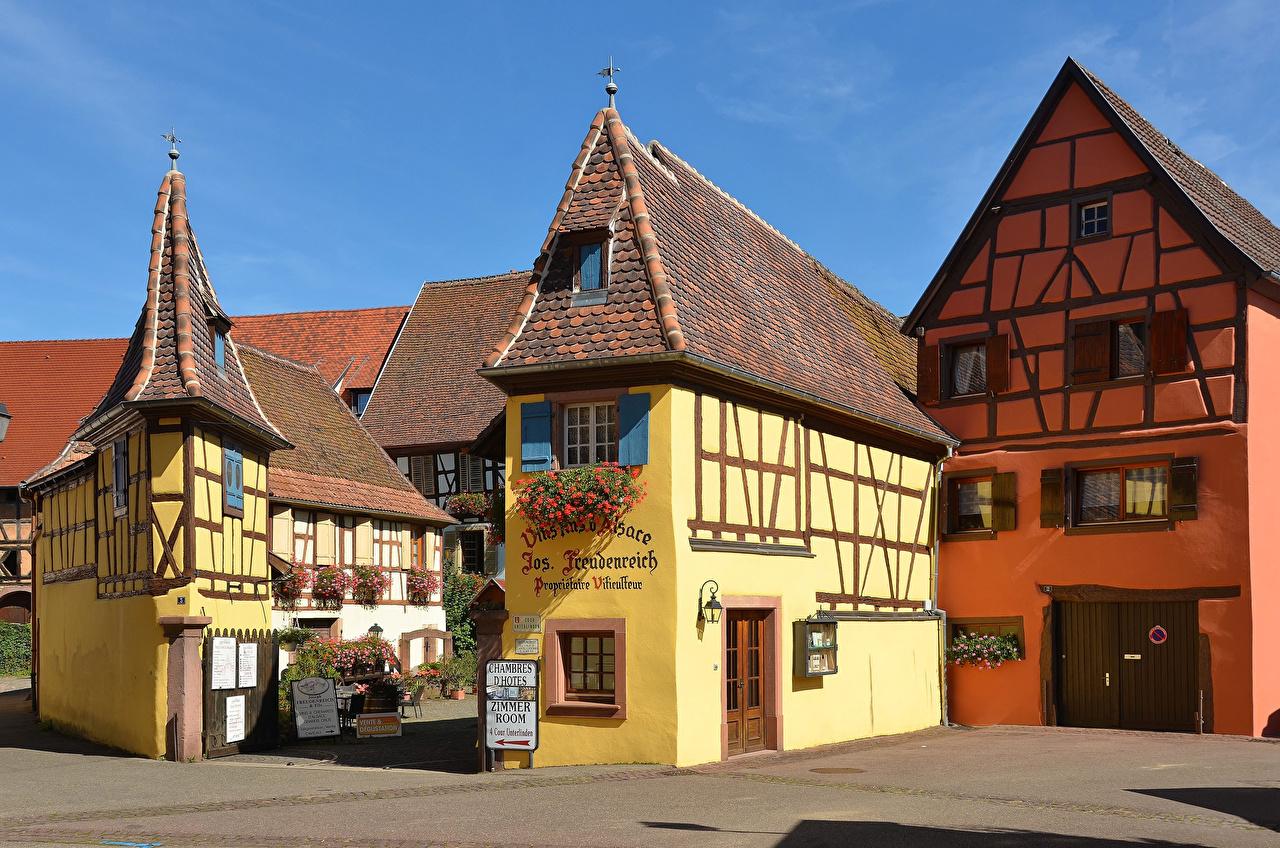 Afbeelding Frankrijk Eguisheim Straatverlichting Huizen Steden Ontwerp gebouw gebouwen een stad
