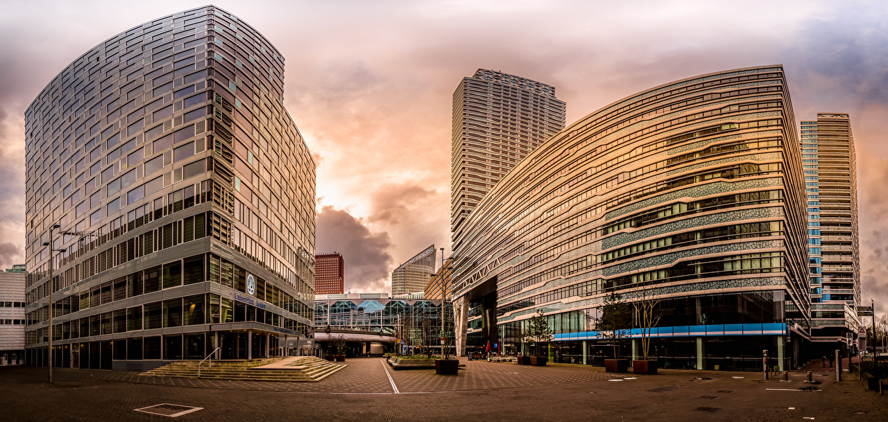 Images Netherlands Panorama New Babylon, The Hague Houses Cities panoramic Building