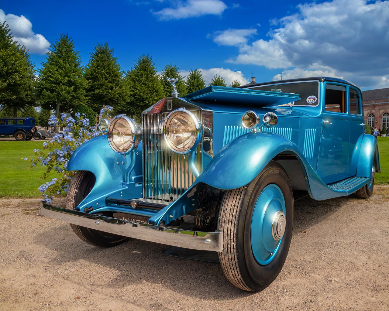 Images Rolls-Royce 1933 Phantom II Continental Retro Light Blue automobile vintage antique Cars auto