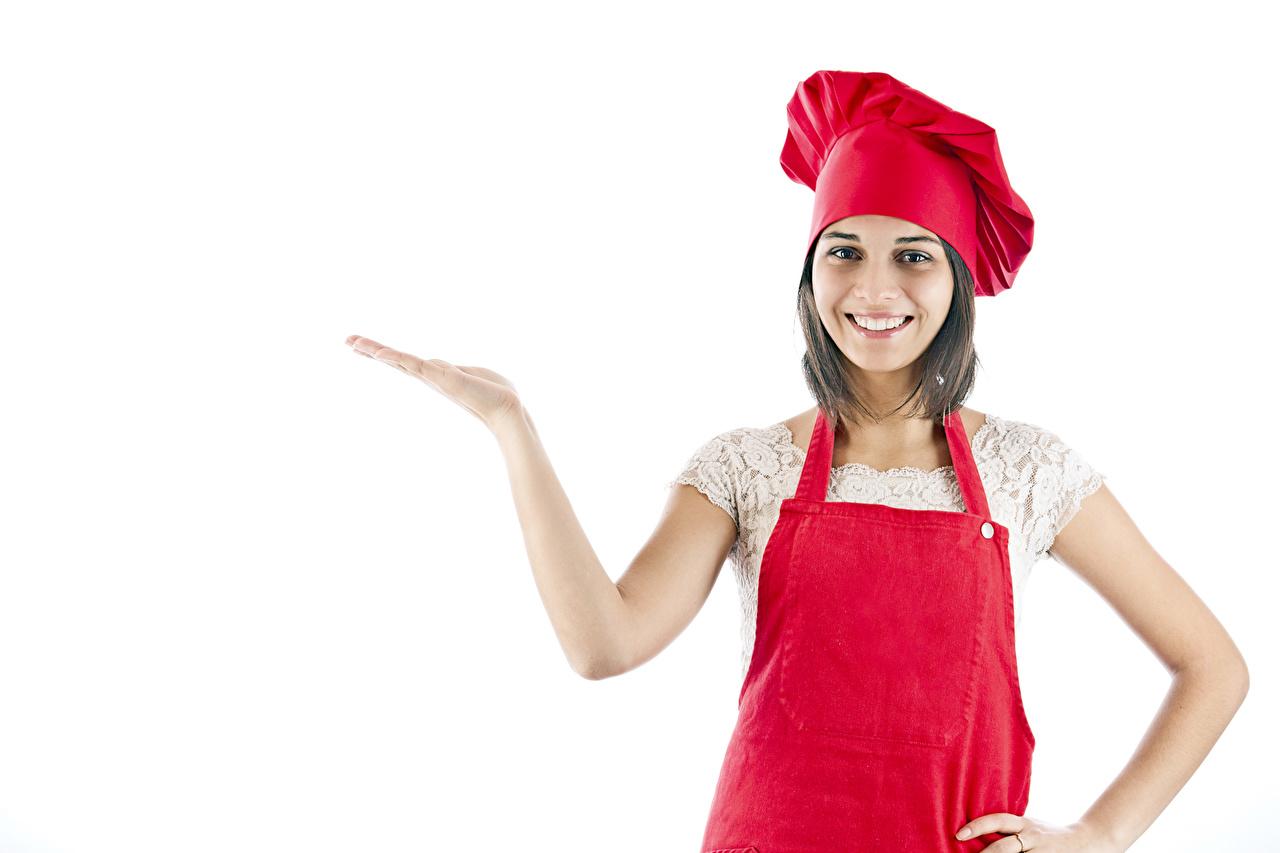 Bilder von Braunhaarige Lächeln Mütze Mädchens Hand Uniform Küchenchef Weißer hintergrund Braune Haare junge frau junge Frauen koch köche