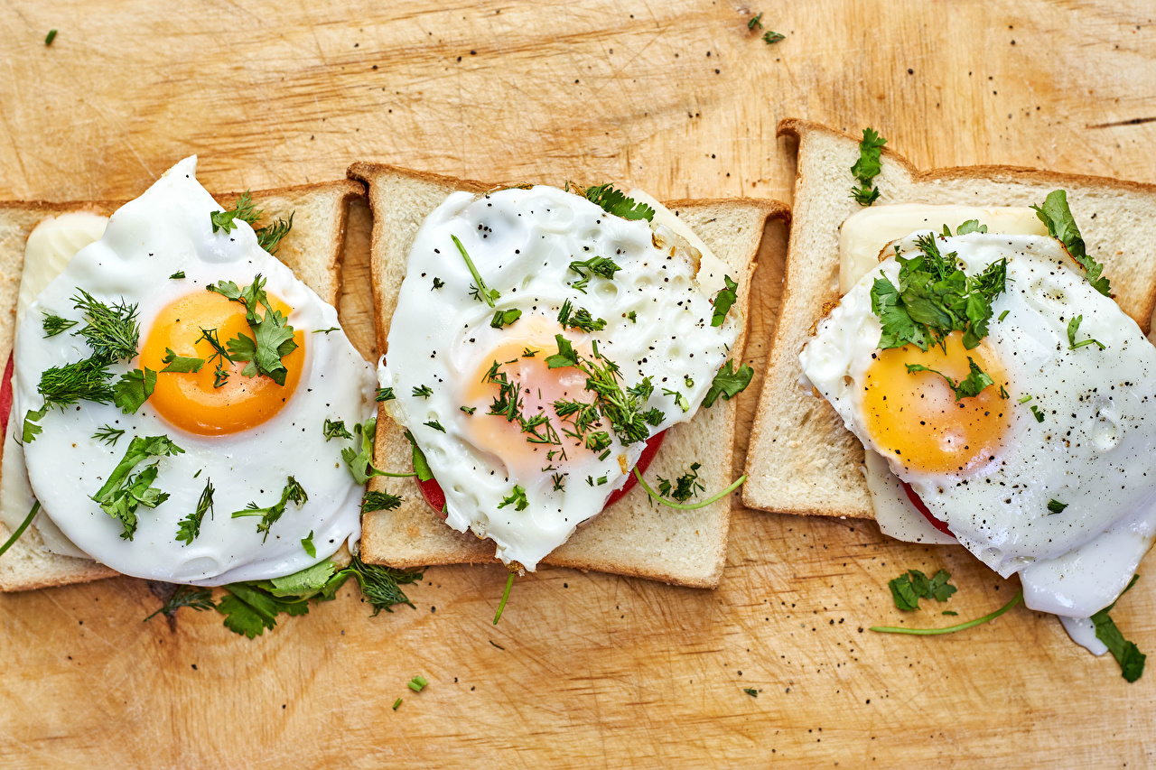 Pictures Fried egg Bread Butterbrot Food Three 3