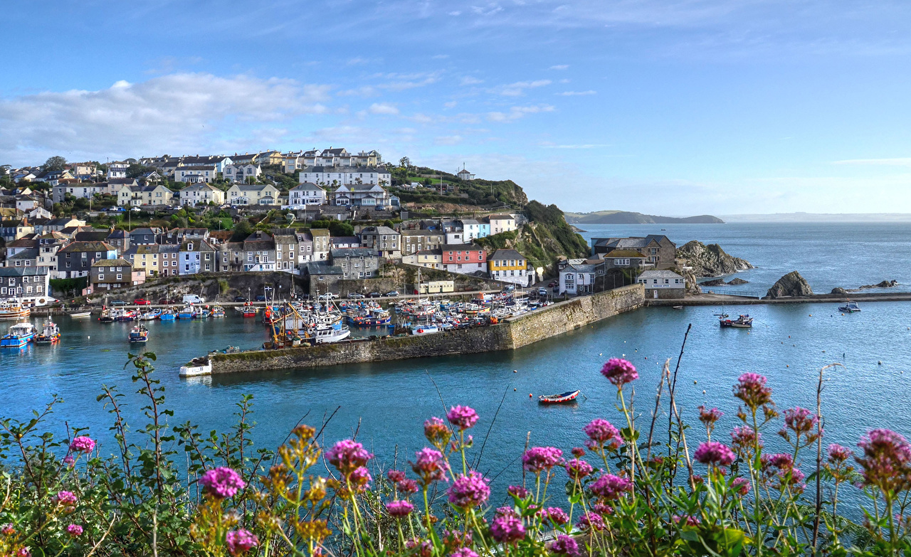 Images England Mevagissey Riverboat Bay Pier Cities Building Berth Marinas Houses
