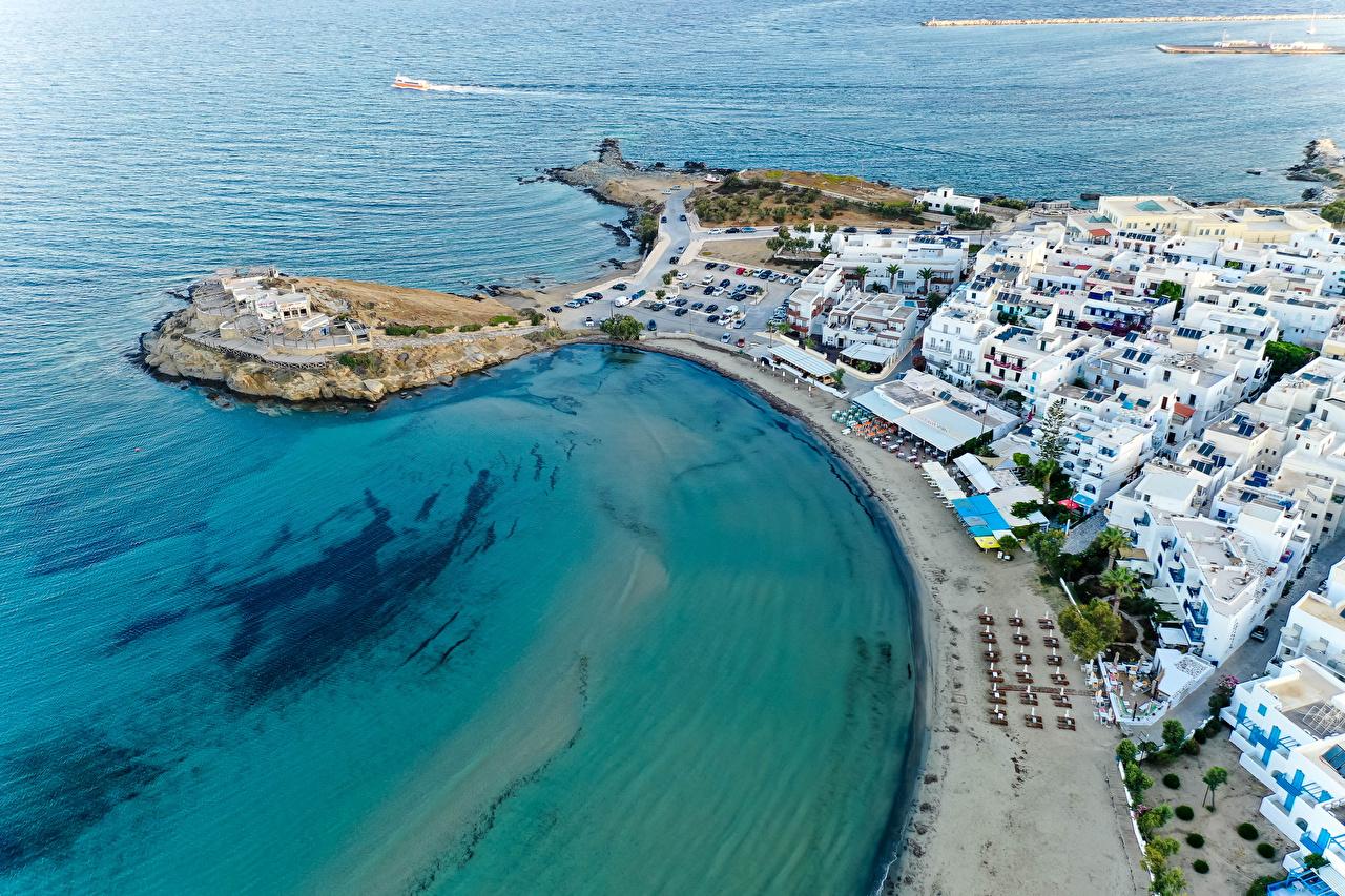 Фото Греция Naxos City улиц Сверху Побережье город Здания улице Улица берег Дома Города