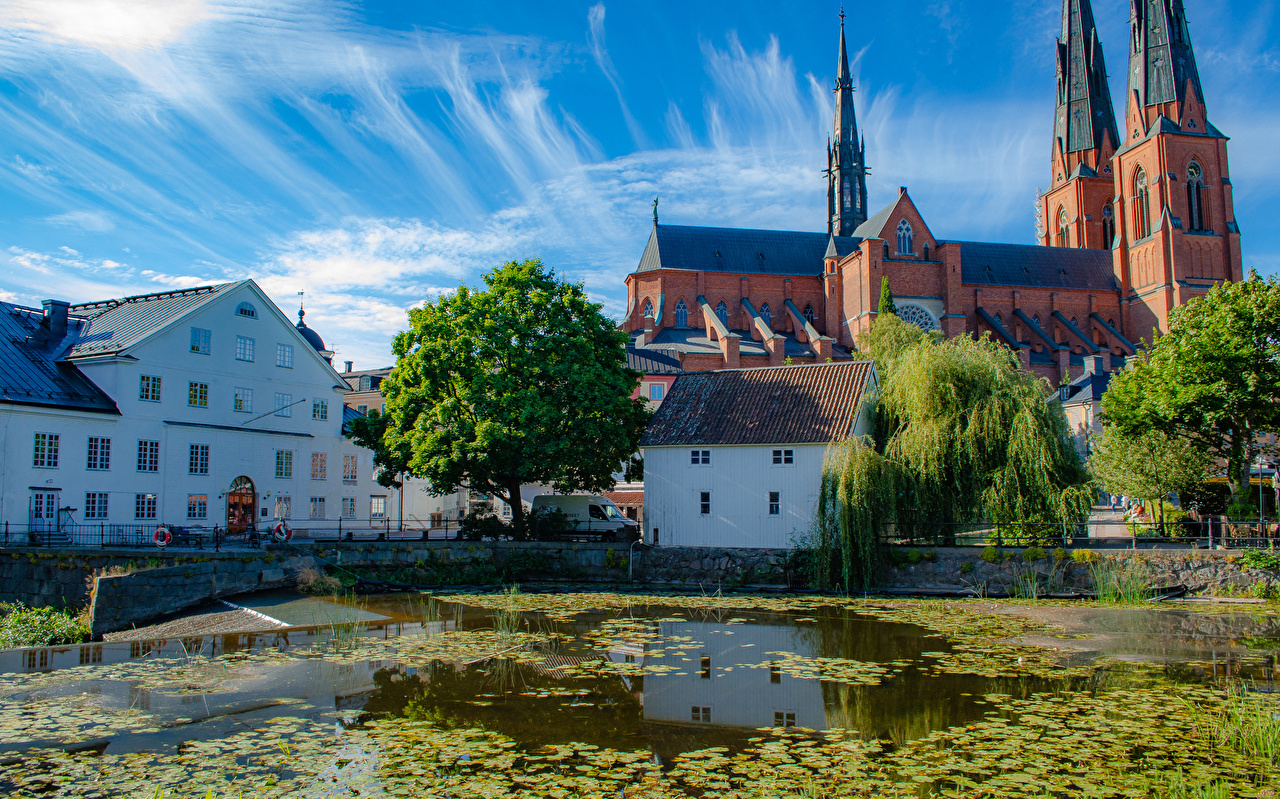 Picture Church Sweden Uppsala Pond temple Houses Cities Temples Building