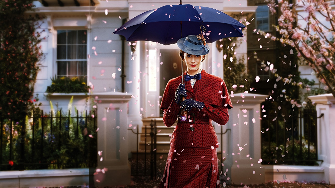 Wallpapers Emily Blunt Mary Poppins Returns Hat young woman Movies parasol Celebrities Girls film Umbrella