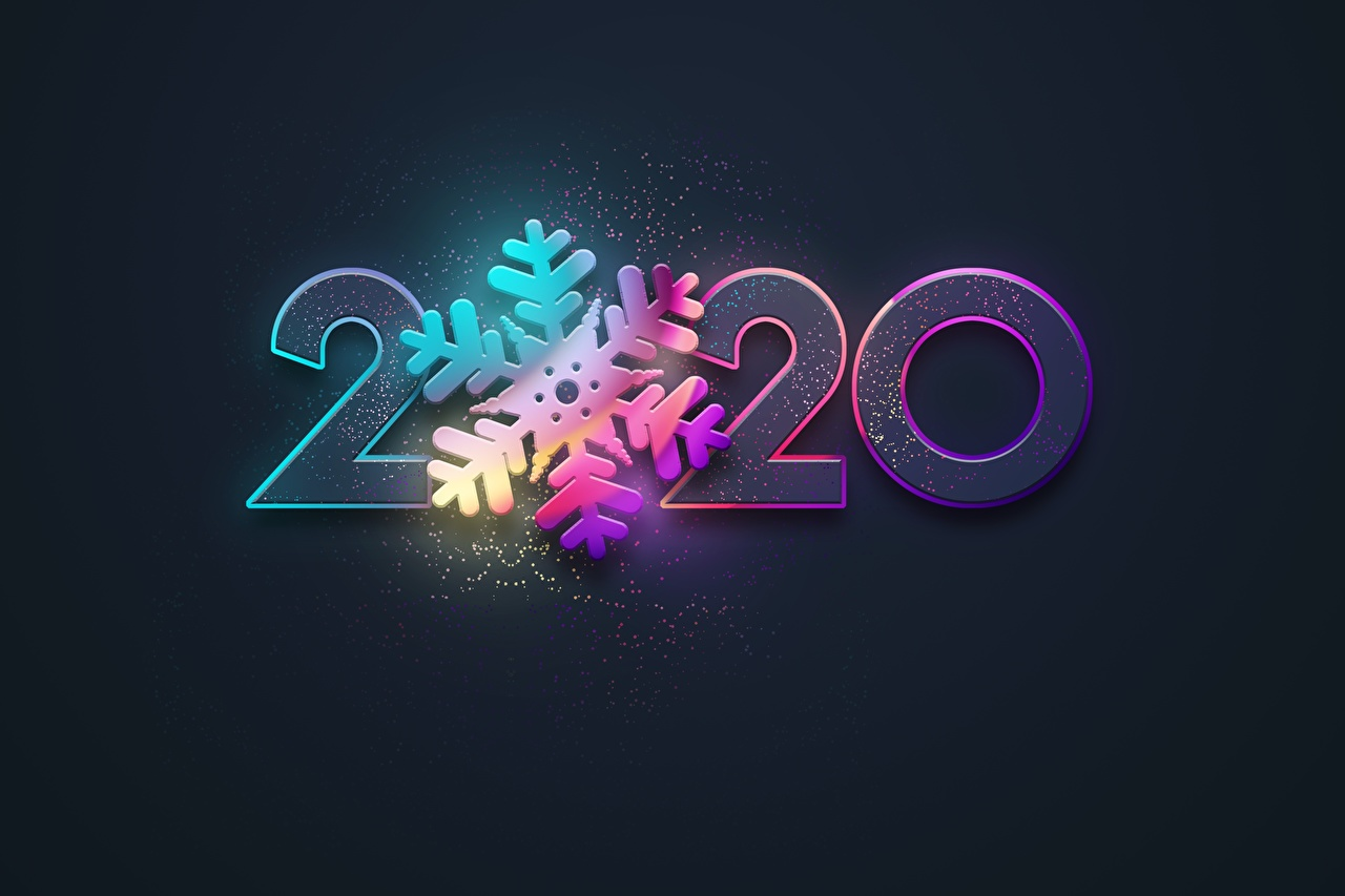 Picture 2020 Christmas Snowflakes Black background New year