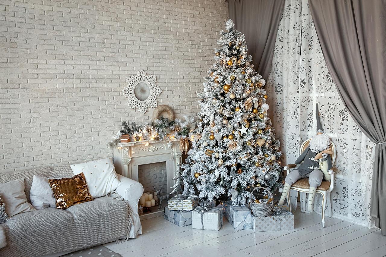 Sapin De Noel Sur Le Mur fonds d'ecran nouvel an salle divan arbre de noël cadeaux en