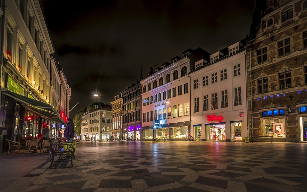 Image Copenhagen Denmark Street night time Cities Building Night Houses