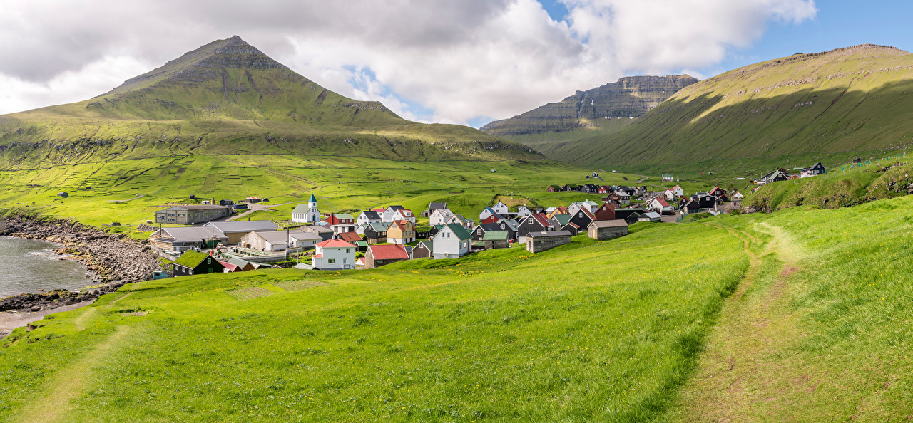 Pictures Denmark Gjogv, Faroe Islands Nature mountain Fields Houses Clouds Mountains Building