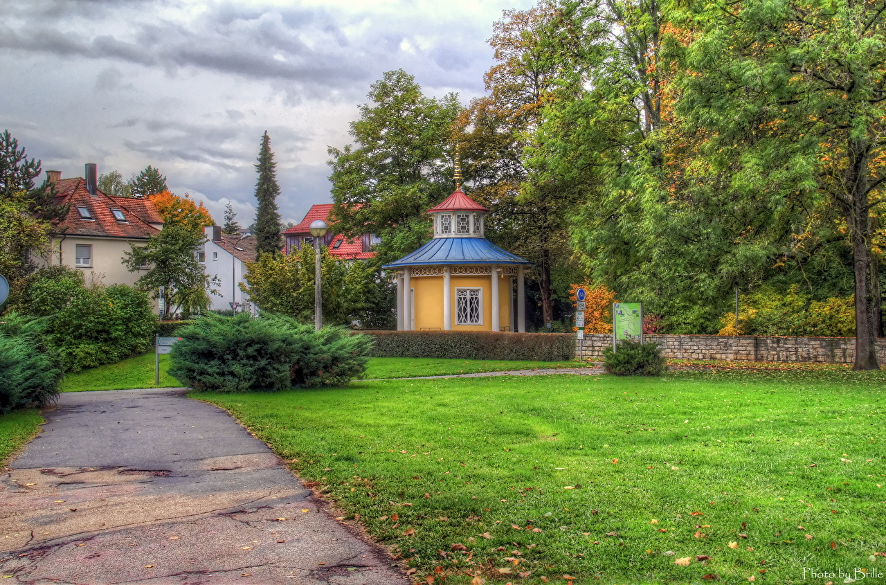 Photos Germany Bad Mergentheim HDRI Street Grass Cities HDR