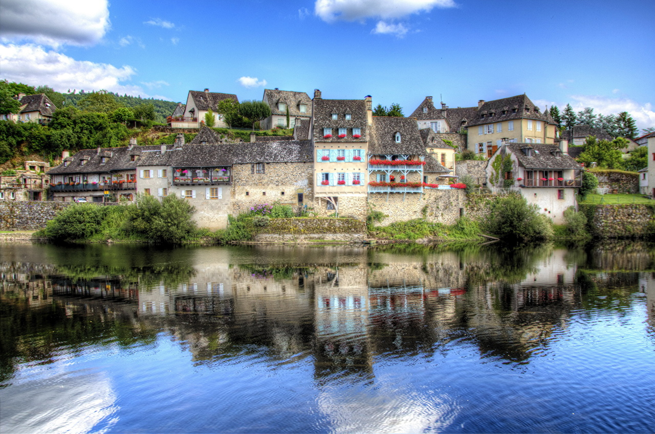 Image France Limousin Argentat HDR Coast Water Houses Cities HDRI Building