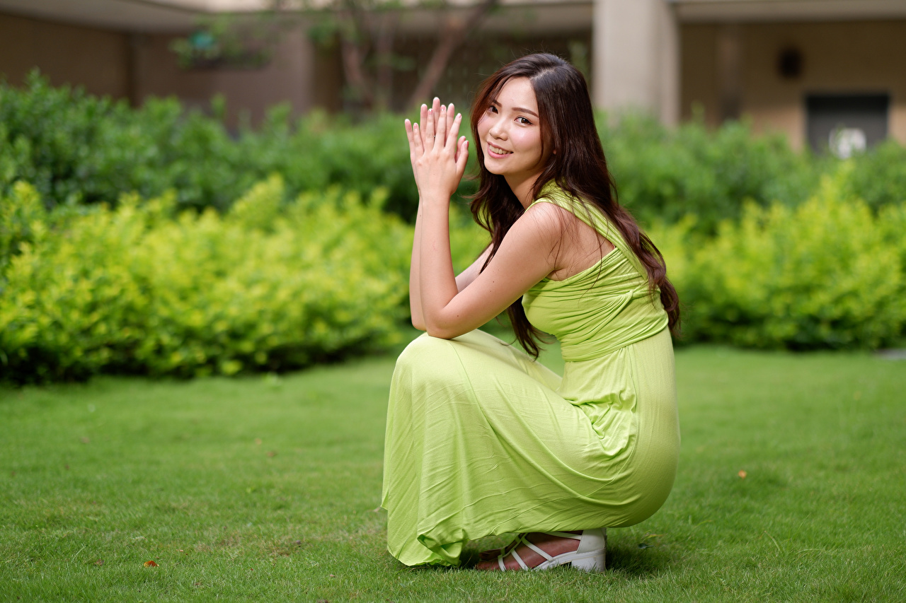 Photo Smile Bokeh Pose young woman Asian sit Staring frock blurred background posing Girls female Asiatic Sitting Glance gown Dress