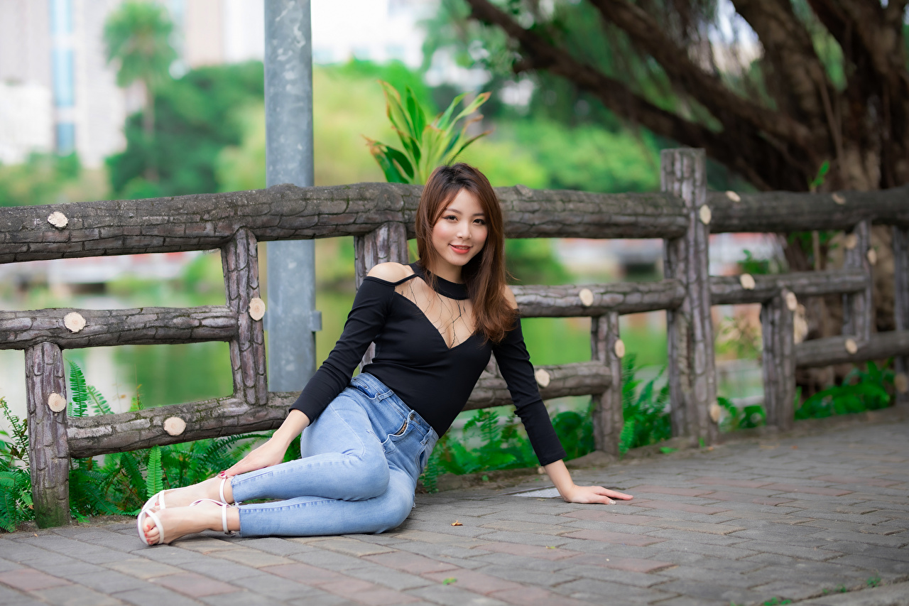 Picture Smile Blouse female Jeans Asiatic sit Glance Girls young woman Asian Sitting Staring