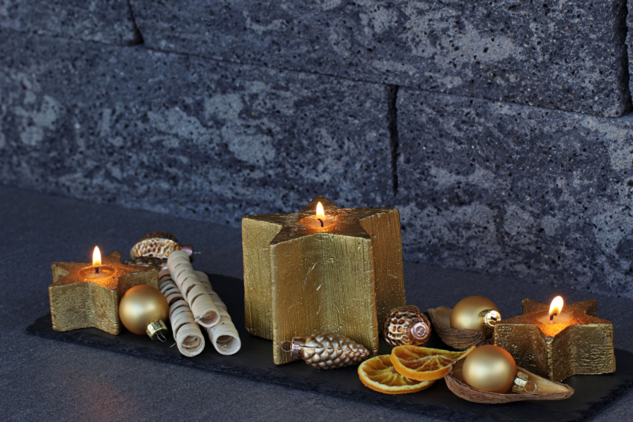 Photos New year Gold color Balls Candles Christmas