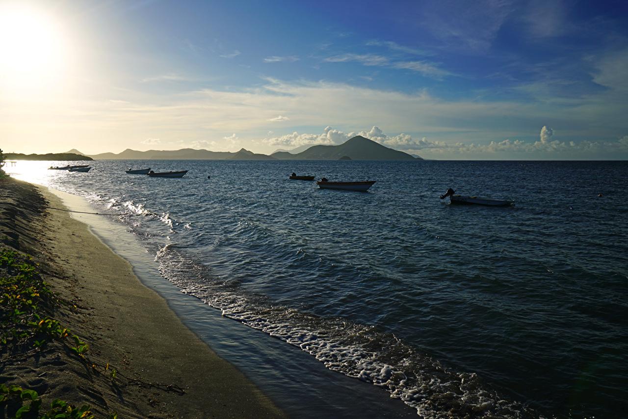 Photos Newcastle Bay, Nevis Sea Nature Coast Boats Evening