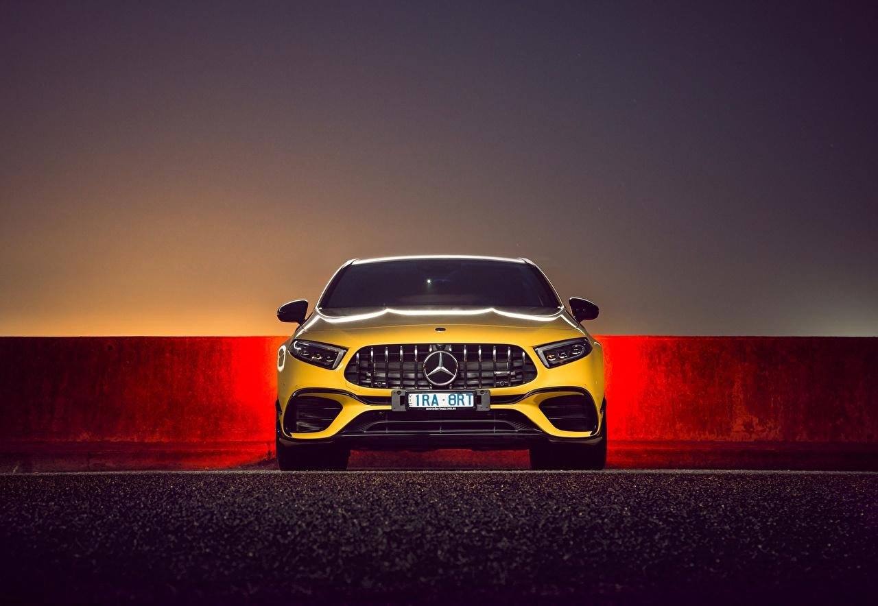Mercedes-Benz AMG A 45 S 4MATIC Na frente Amarelo carro, automóvel, automóveis Carros