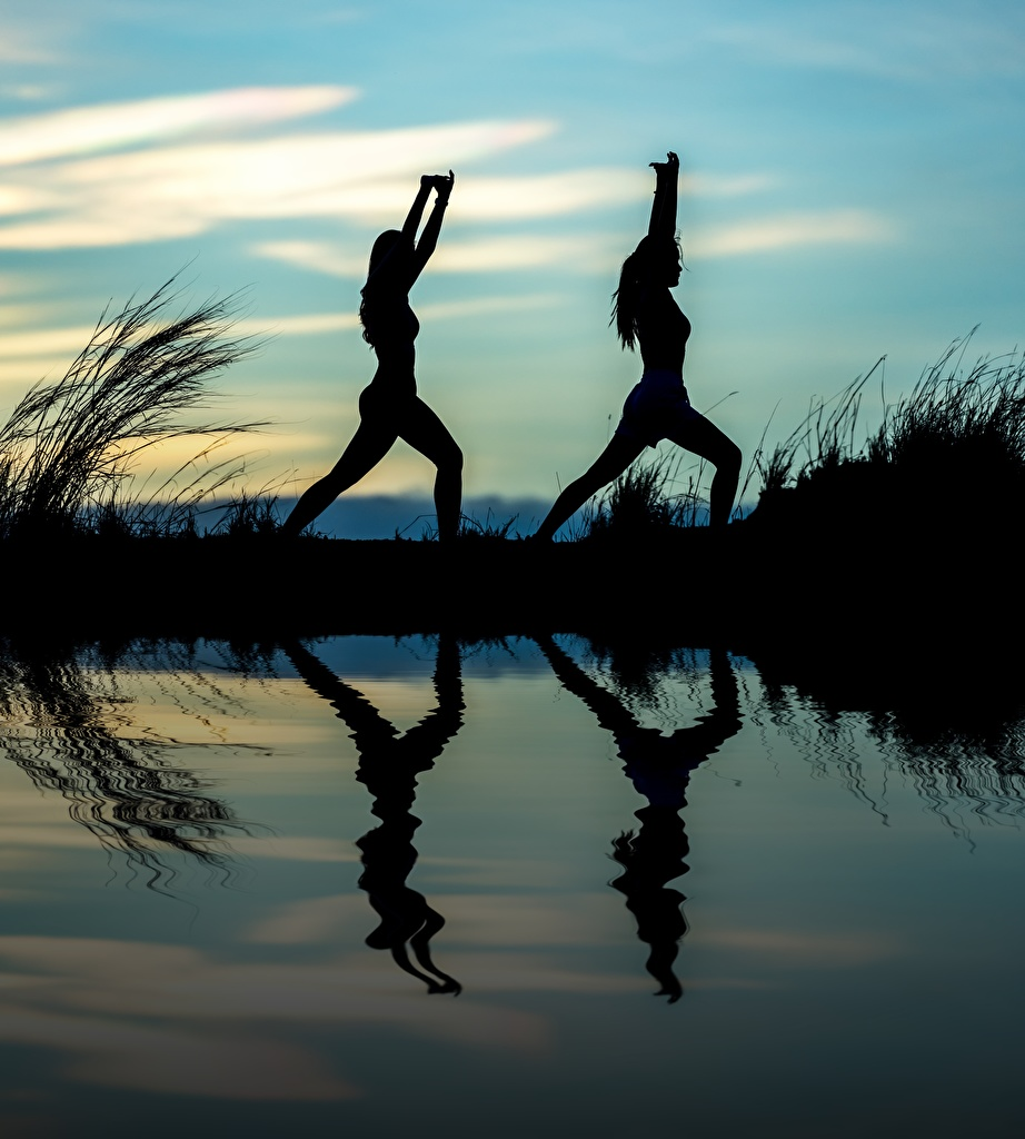 Images Yoga Physical exercise Silhouette Two athletic Reflection sunrise and sunset Workout silhouettes 2 Sport sports reflected Sunrises and sunsets