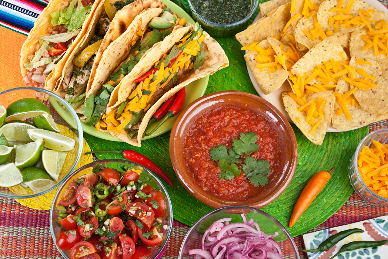 Image Mexico Tacos Chips Lemons Ketchup Fast food Food Vegetables crisps