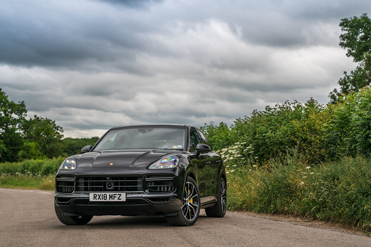 Pictures Porsche 2018 Cayenne Turbo Grey Front Metallic automobile gray Cars auto