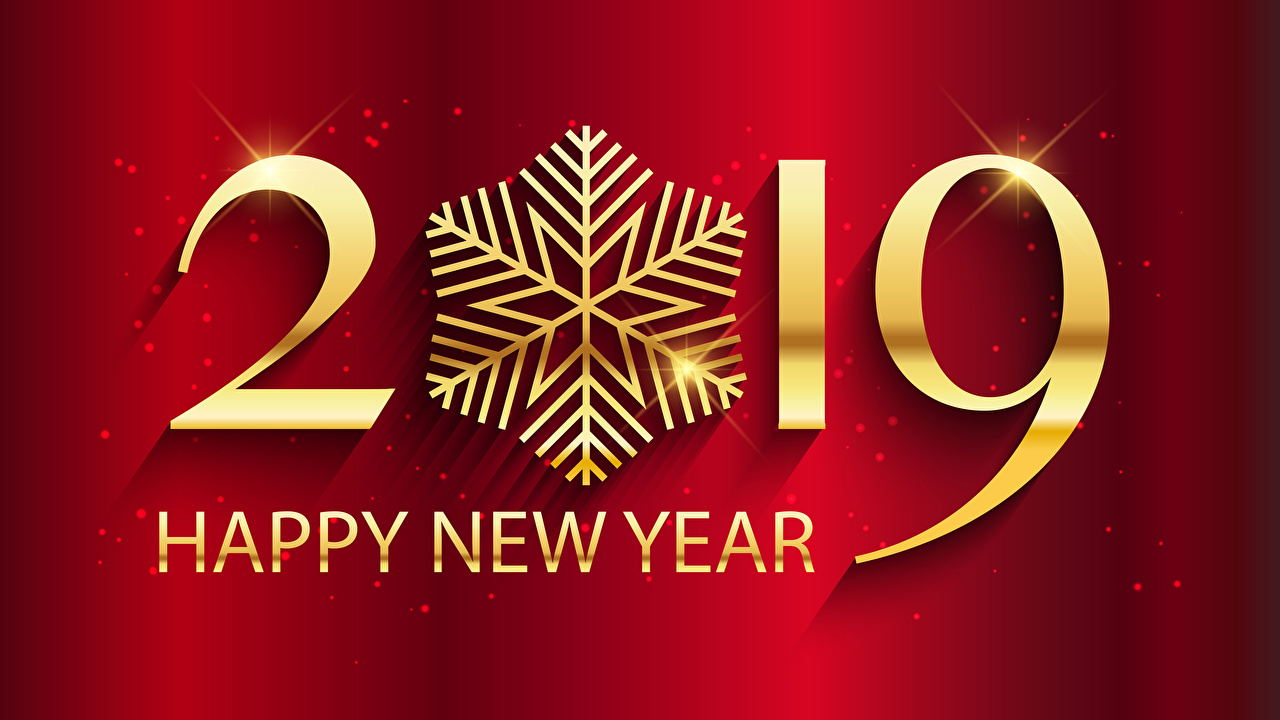 Wallpaper 2019 New year English Red background
