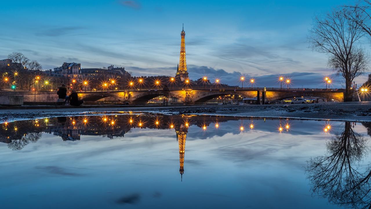 Fotos von Paris Eiffelturm Frankreich Turm Seine Brücke Reflexion Morgendämmerung und Sonnenuntergang Abend Flusse Städte Türme Brücken spiegelt Spiegelung Spiegelbild Sonnenaufgänge und Sonnenuntergänge Fluss