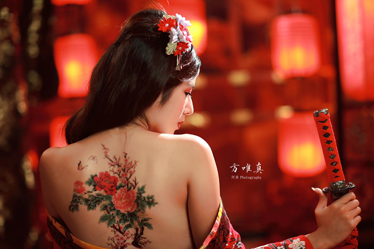 Pictures Tattoos Brunette girl Bokeh Human back young woman Asian Back view blurred background Girls female Asiatic