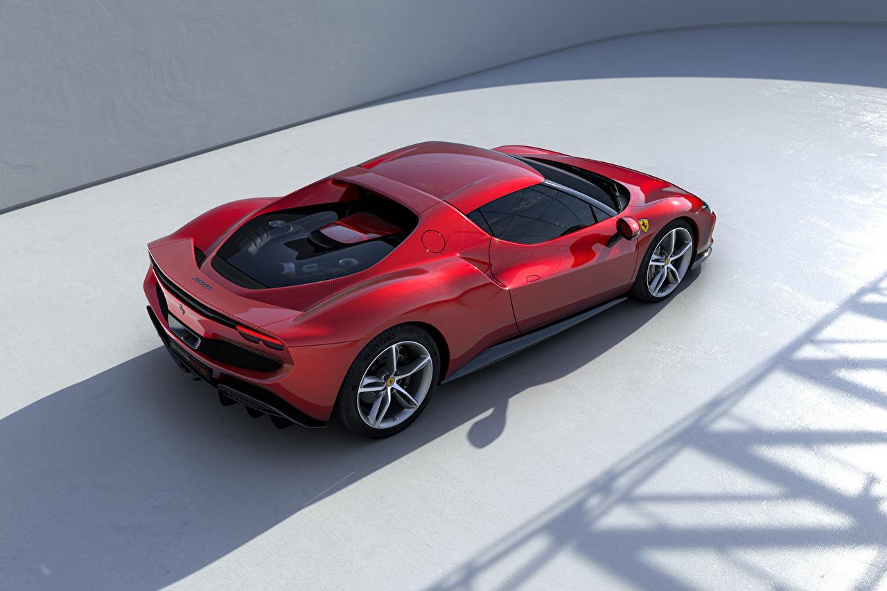 Ferrari 296 GTB (F171), 2022 Vermelho Metálico De acima carro, automóvel, automóveis Carros