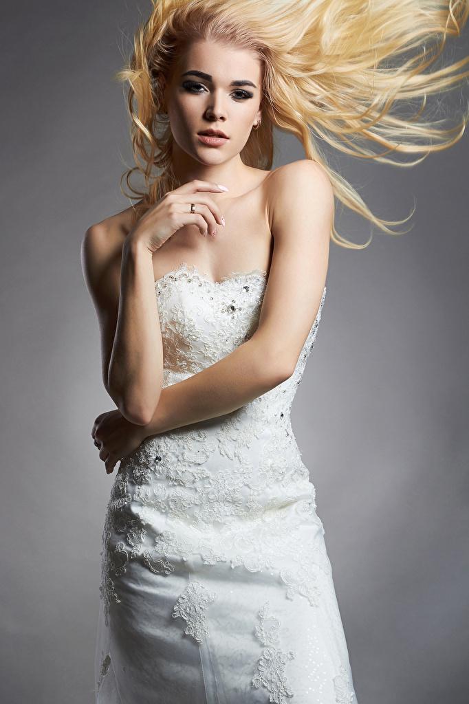 Bilder bräute Blondine Mädchens Hand Grauer Hintergrund Kleid Braut Blond Mädchen