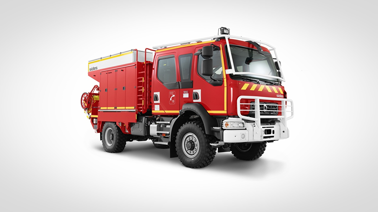 Picture Renault Fire engine 4x4, D14 Red Side automobile Gray background Cars auto