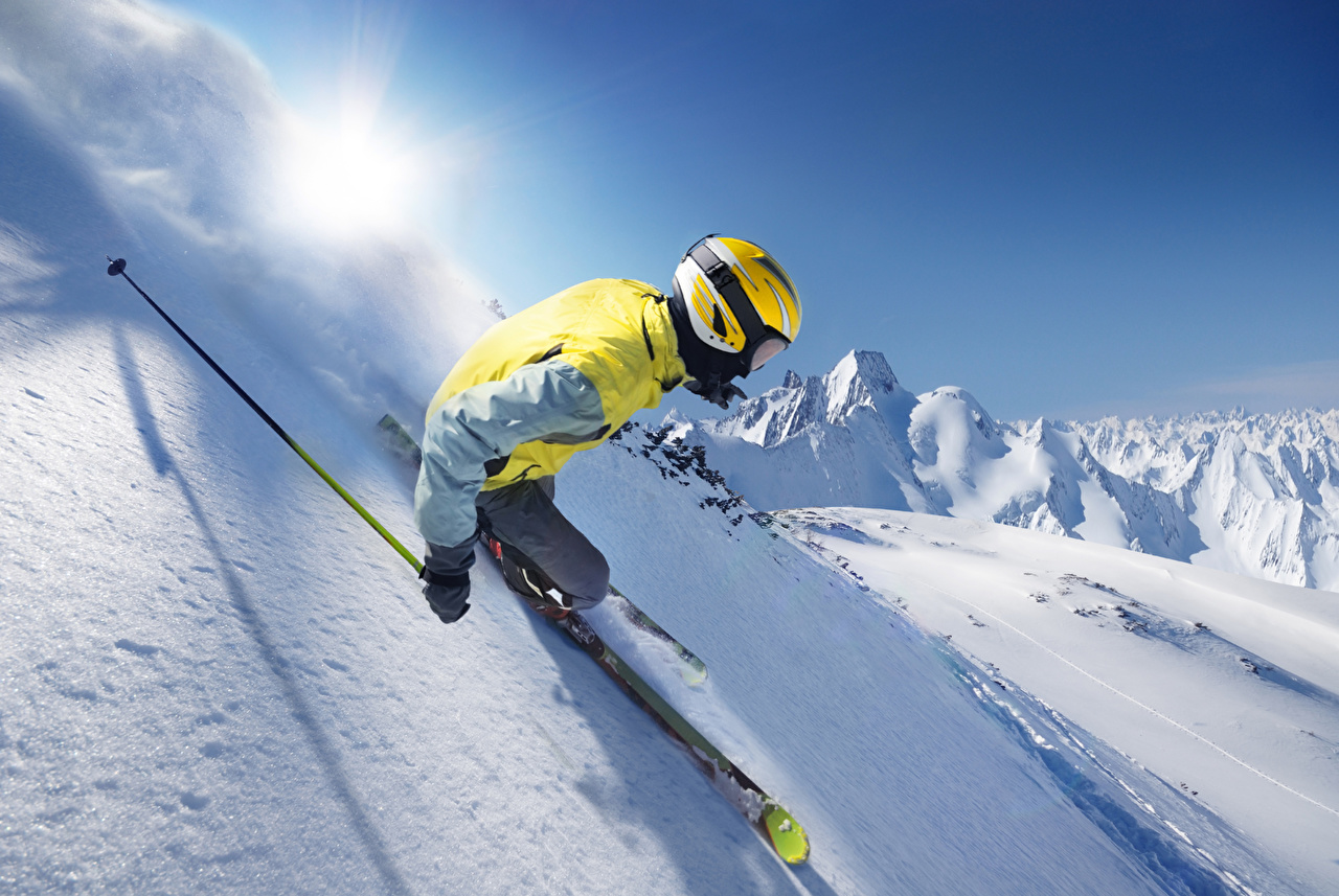 Image Helmet Winter sports Snow driving Skiing Sport athletic moving riding Motion at speed