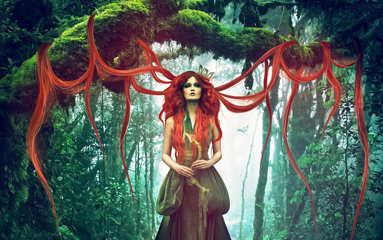 Wallpaper Magic Redhead girl Hair Girls Fantasy sorcery female young woman