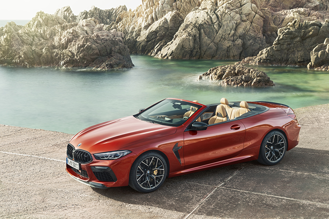 Desktop Wallpapers BMW 2019 M8 Competition Cabrio Worldwide Cabriolet Red Cars Convertible auto automobile