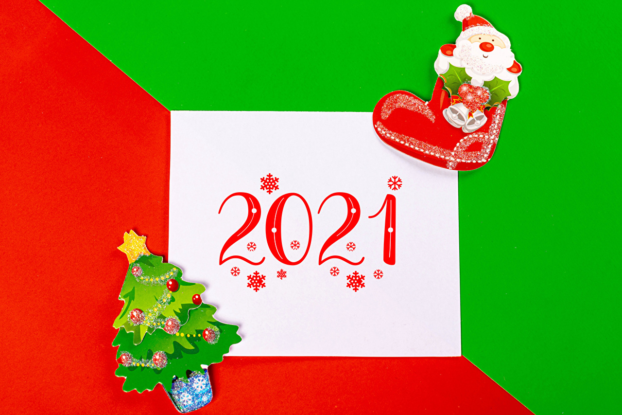 Bilder von 2021 Neujahr Blatt Papier Stiefel Tannenbaum Schneeflocken Weihnachtsmann Christbaum Weihnachtsbaum
