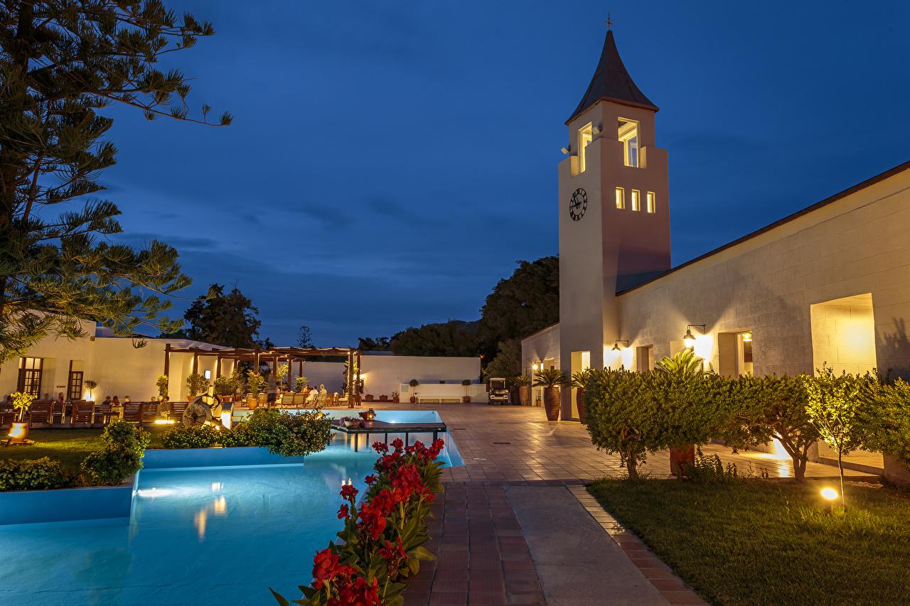 Image Villa Greece Pools Rhodos Evening Street lights Shrubs Cities Swimming bath Bush