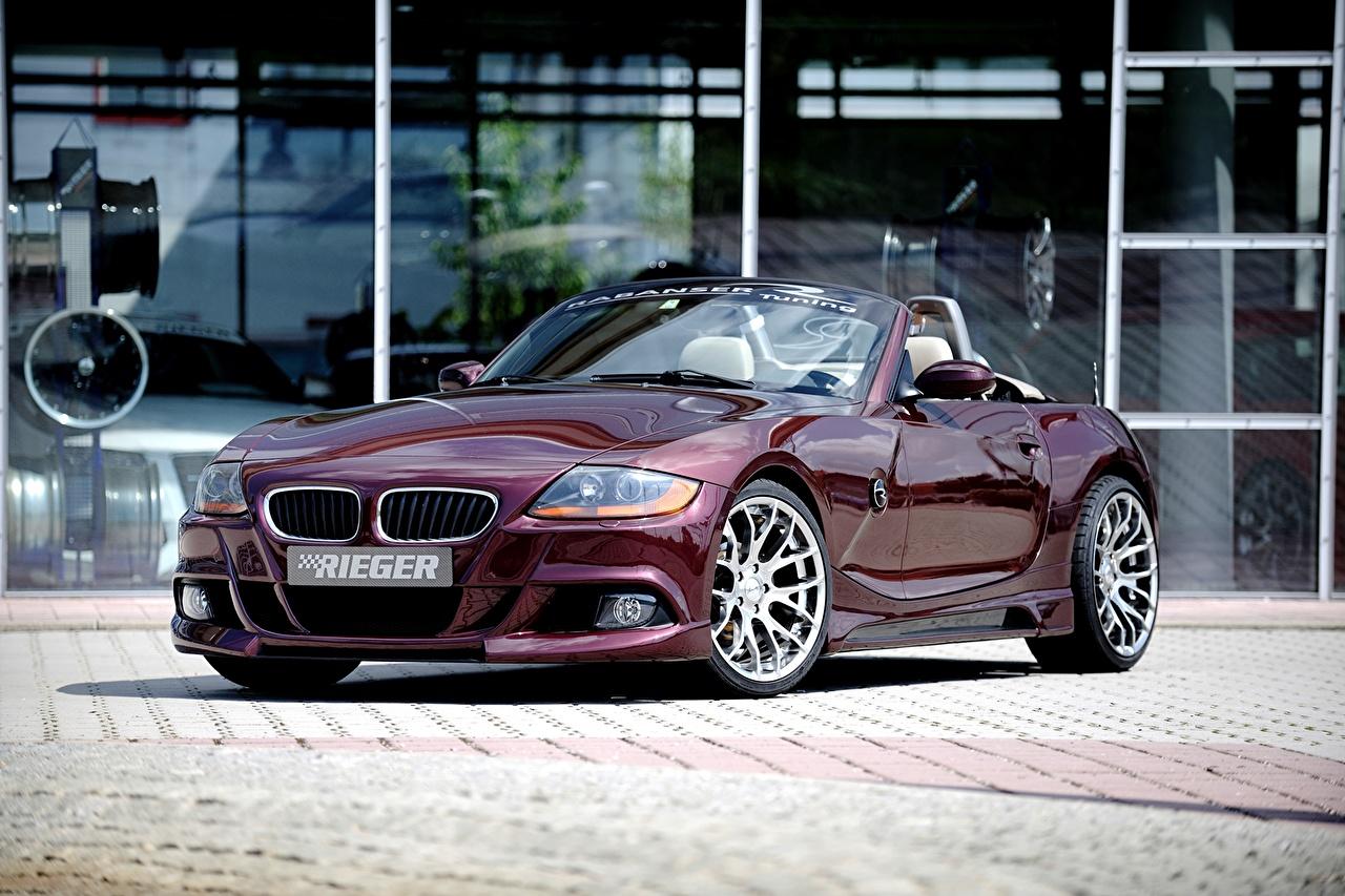 Wallpaper BMW 2010 Rieger Z4 E85 Convertible dark red auto Cabriolet maroon burgundy Wine color Cars automobile